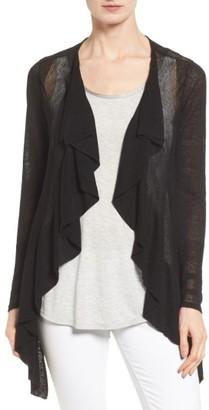 Women's Nic+Zoe Ruffle Wave Linen Blend Cardigan $158 thestylecure.com