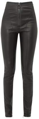 Off-White Off White Logo Zip Front Leather Leggings - Womens - Black