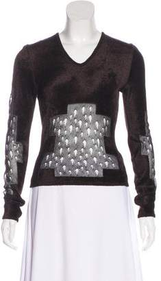 Christian Dior Mesh-Paneled Textured Top