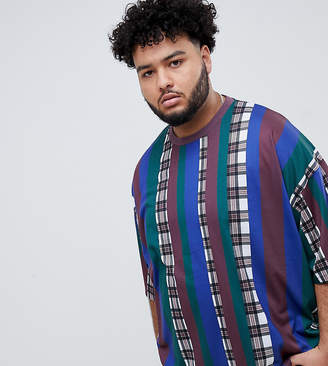Asos DESIGN Plus oversized stripe check t-shirt with half sleeve