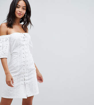83ce801be5 Asos Tall DESIGN Tall lace up broderie off shoulder mini sundress
