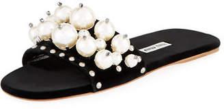 Miu Miu Pearly Velvet Slide Sandals