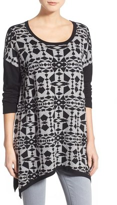kensie Print Block Asymmetrical Pullover $109 thestylecure.com
