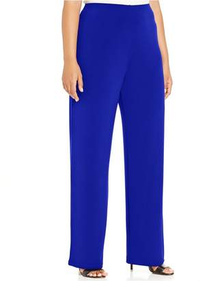 Alfani Womens Plus Poplin Wide-Leg Gaucho Pants Blue 2X