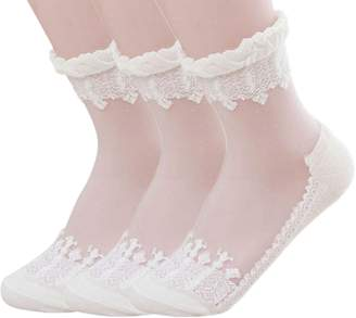 American Trends Women's Lace Transparent Elastic Ankle Socks