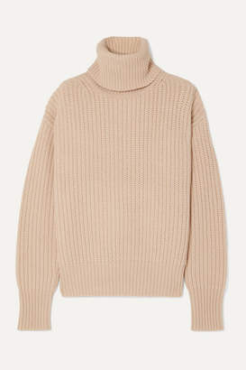 Joseph Pearl Ribbed Wool Turtleneck Sweater - Cream