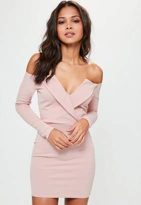 Missguided Pink Long Sleeve Wrap Dress, Pink
