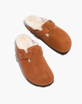 Madewell Birkenstock Suede Boston Clogs in Shearling
