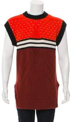 Just Cavalli Longline Wool-Blend Sleeveless Sweater