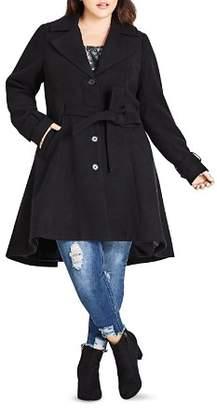 City Chic Plus Flared High/Low Hem Coat
