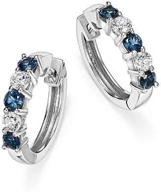 Bloomingdale's Sapphire and Diamond Hoop Earrings in 14K White Gold - 100% Exclusive