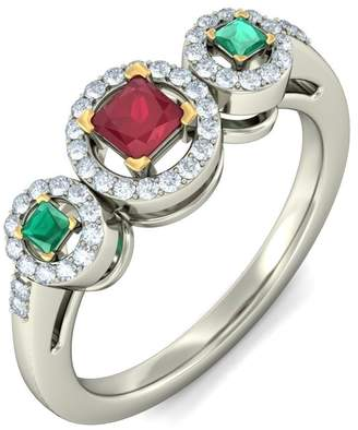 PEACOCK JEWELS Certified 18K Gold (HallMarked), 0.23 cttw Round-Cut Diamond (IJ | SI ) Ruby, Emerald and Diamond Engagement Wedding Ring Size - 11