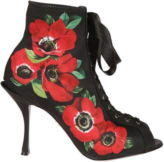 Dolce & Gabbana Floral Print Ankle Boots