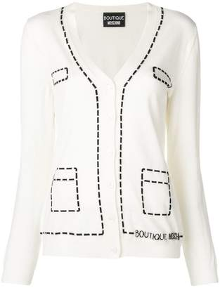 Moschino top stitch intarsia cardigan