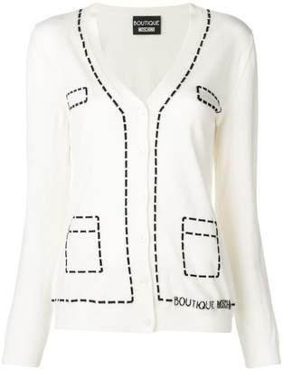 Moschino top stitch intarsia cardigan