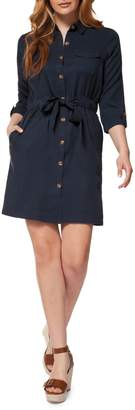 Dex Three-Quarter Sleeve Tie-Waist Shirtdress