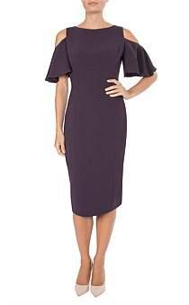 Anthea Crawford Aubergine Cold Shoulder Dress