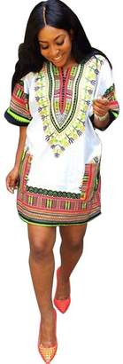 Susenstone Summer Dress Traditional African Casual Straight Print Above Knee Mini Dresses (L)