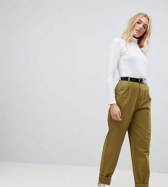 Asos Tall DESIGN Tall curved seam tapered casual pants with belt