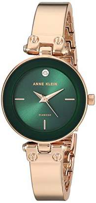 Anne Klein Women's AK/3236GNRG Diamond-Accented Rose Gold-Tone Bangle Watch