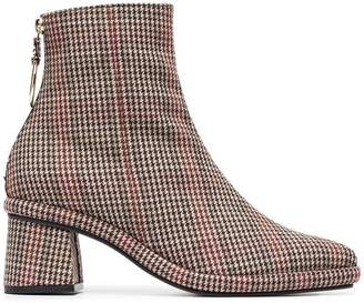 Reike Nen brown, red and black Check 80 Leather and Wool Ankle Boots