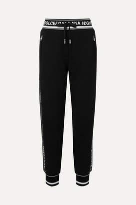 Dolce & Gabbana (ドルチェ & ガッバーナ) - Dolce & Gabbana - Intarsia-trimmed Cotton-jersey Track Pants - Black