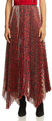 Alice + Olivia Katz Metallic Leopard Print Pleated Maxi Skirt