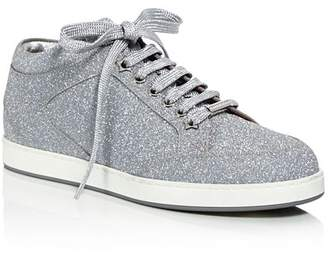 Jimmy Choo Women's Miami Glitter Leather Low Top Lace Up Sneakers
