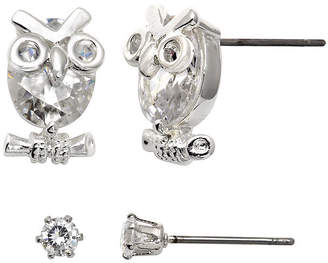 JCPenney SPARKLE ALLURE Sparkle Allure Crystal Silver-Plated Owl and Stud Earring Set