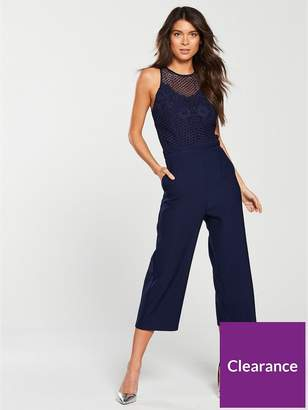 5ca0bc713b0f at Littlewoods · Little Mistress Contrast Top Culotte Jumpsuit - Navy