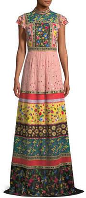 Alice + Olivia Arabella Mock-Neck Floral-Embroidered Evening Gown
