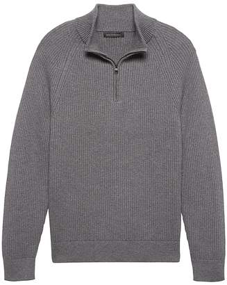 Banana Republic Heritage Cotton Ribbed Half-Zip Sweater