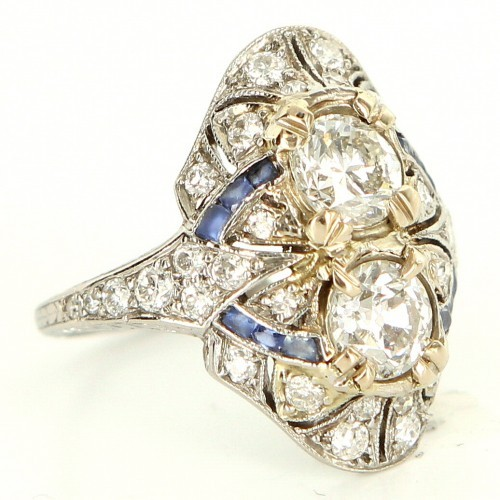 very good (VG) Antique Deco Platinum Diamond Sapphire Cocktail Ring Sz 6.25