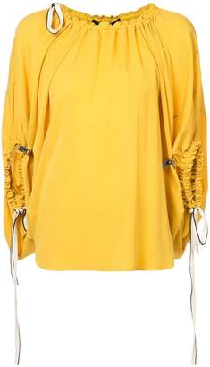 Derek Lam Balloon Blouse With Drawstring Detail