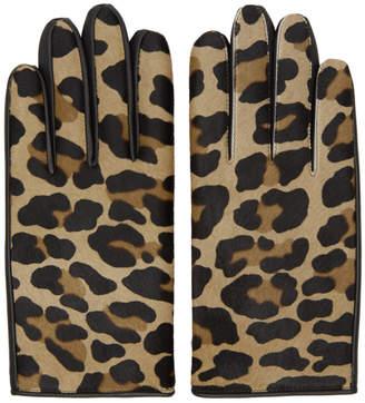 SASQUATCHfabrix. Beige Leather Leopard Gloves