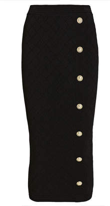 Balmain Button Embellished Diamond Knit Skirt