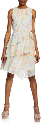 Calvin Klein Floral Pleated Chiffon Tiered Self-Tie Dress
