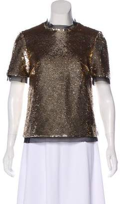 Rachel Zoe Sequined Mesh-Accented Top