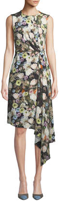 ADAM by Adam Lippes Sleeveless Crewneck Floral-Print Silk Crepe Day Dress w/ Side Drape