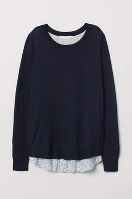H&M MAMA Fine-knit Nursing Sweater - Blue