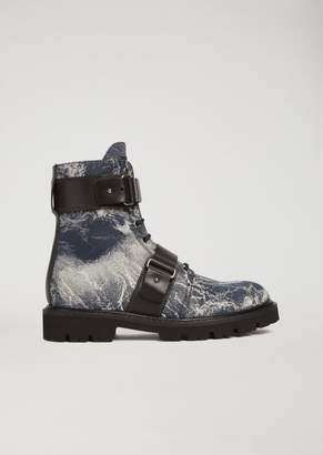 Emporio Armani Amelie Fabric Combat Boots With Buckle Details