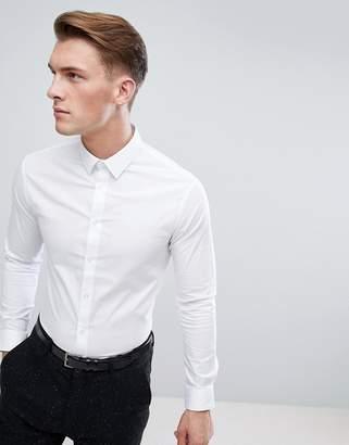 Celio Slim Smart Long Sleeve Shirt In White