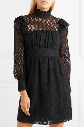 Anna Sui Rows Of Flowers Cotton-blend Guipure Lace Dress - Black