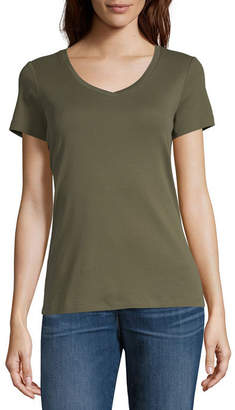 ST. JOHN'S BAY Womens V Neck Short Sleeve T-Shirt