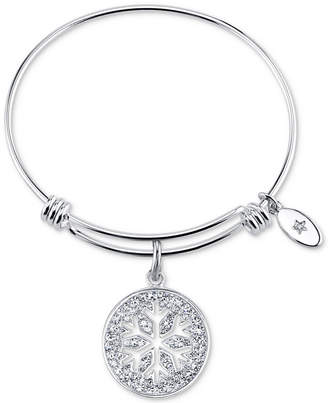 Unwritten Snowflake Crystal Charm Bangle Bracelet in Stainless Steel