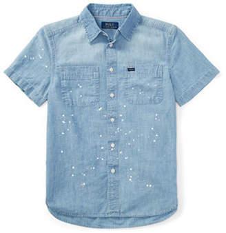 Ralph Lauren Paint-Splatter Chambray Collared Shirt