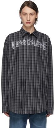 Balenciaga Black and White Check Tattoo Normal Fit Shirt