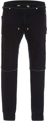 Balmain Deconstructed Denim And Jersey Slim-Leg Sweatpants
