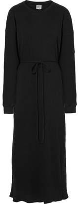 Base Range Baserange - Shaw Ribbed Organic Cotton-fleece Dress - Black