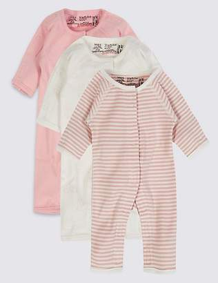 Marks and Spencer 3 Pack Premature Pure Cotton Sleepsuits